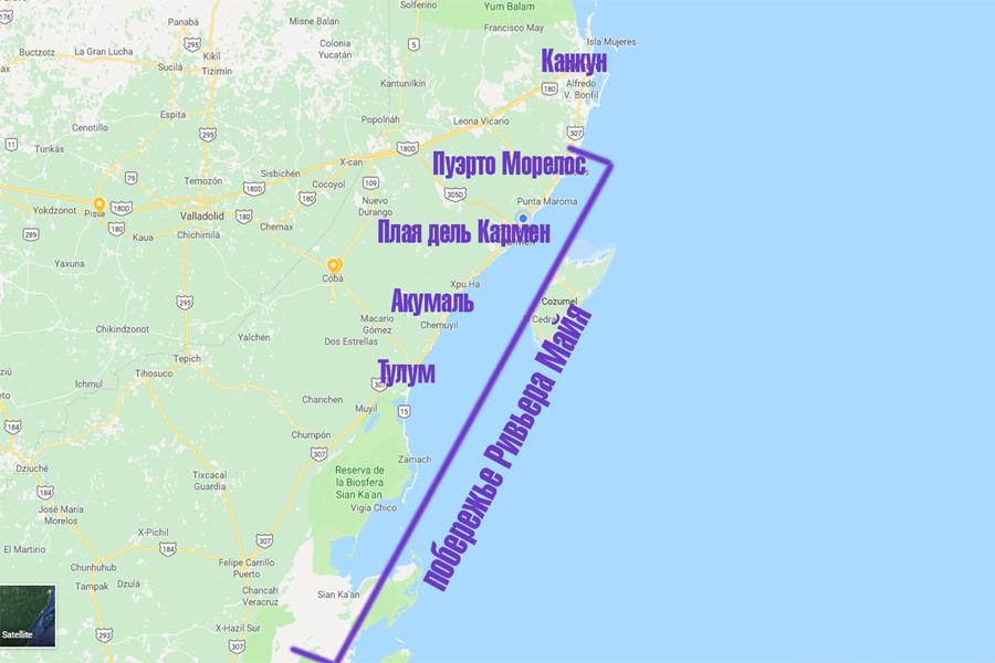 карта ривьера майя