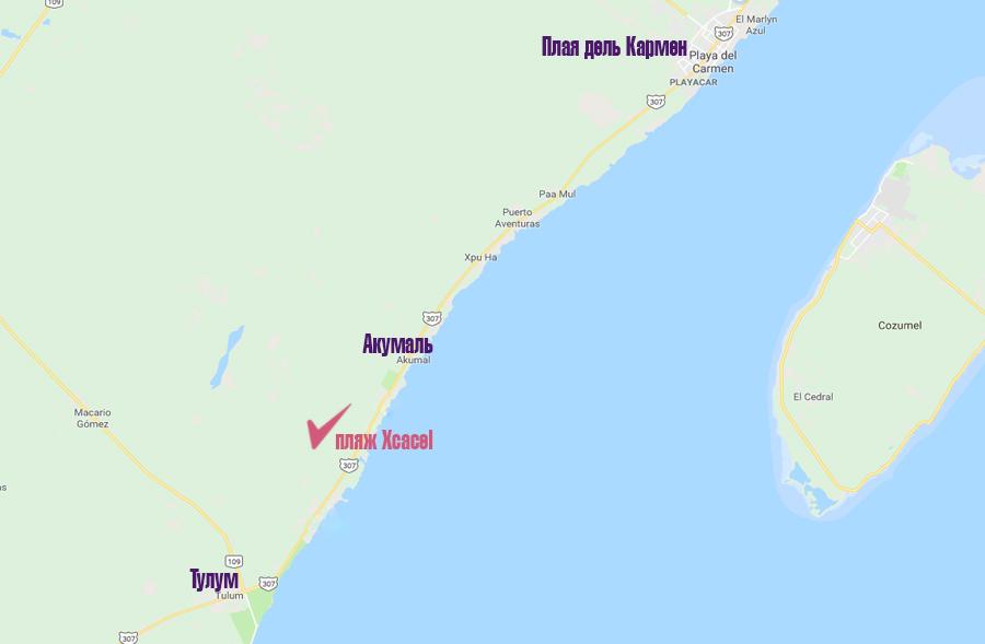 пляжи мексики карта