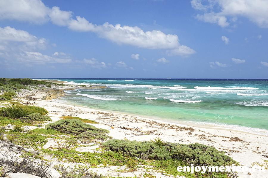 безлюдный пляж остров косумель