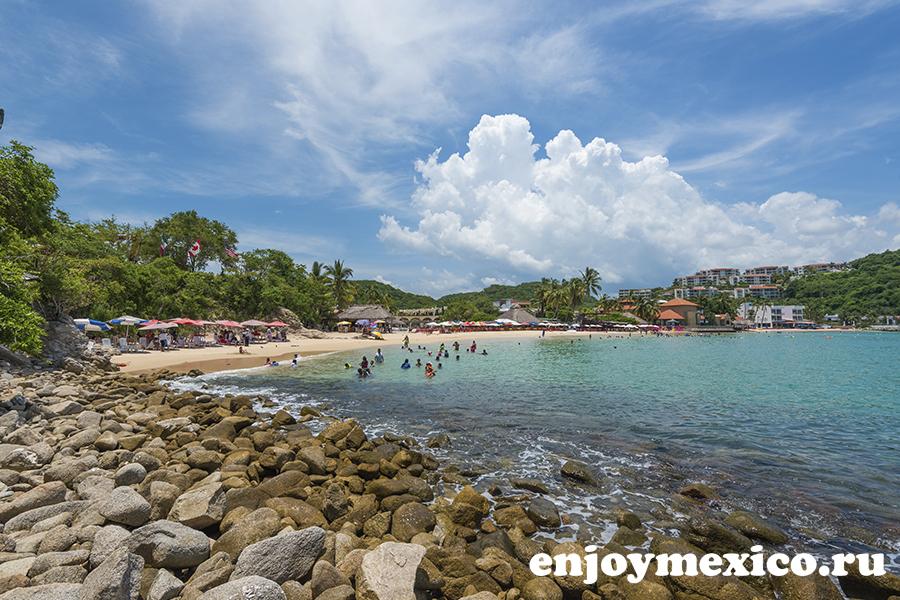 пляж санта круз уатулько в мексике
